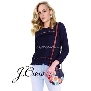 J. Crew fringe cotton pullover sweater